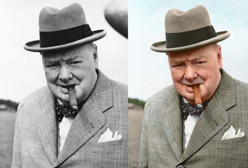 Winston Churchill en color